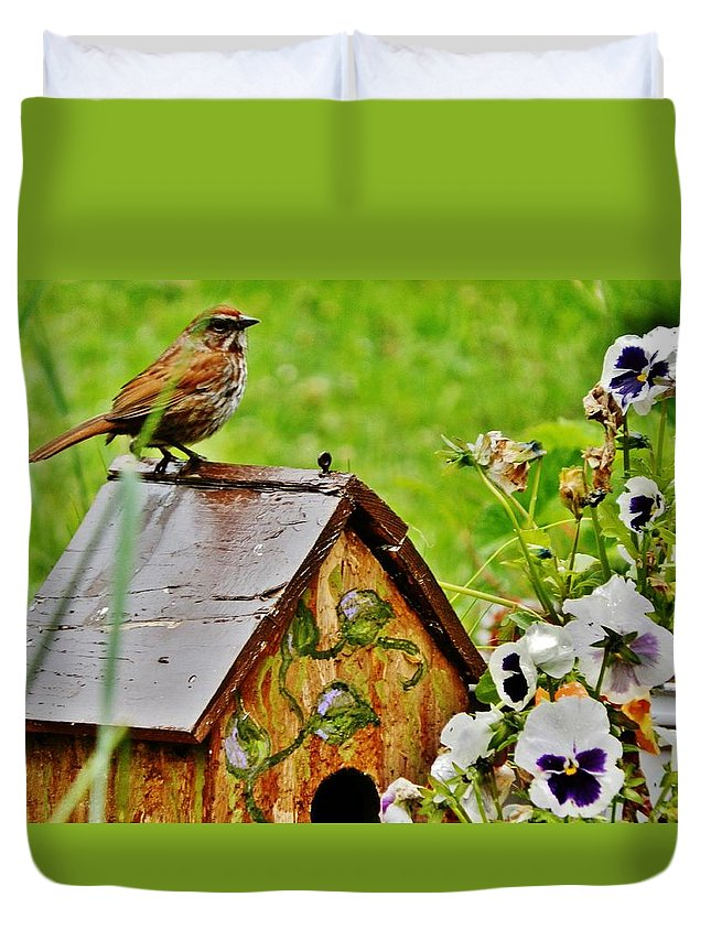 Sparrow Duvet Cover featuring the photograph Garden Decor With Song by VLee Watson