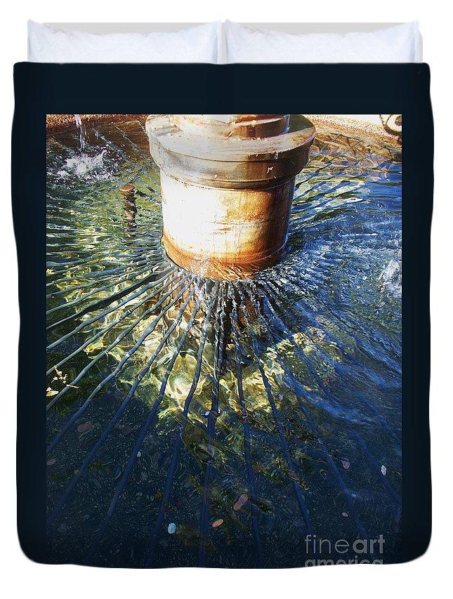 Fountain Duvet Cover featuring the photograph Garden Fountain Reflection by Eric Schiabor