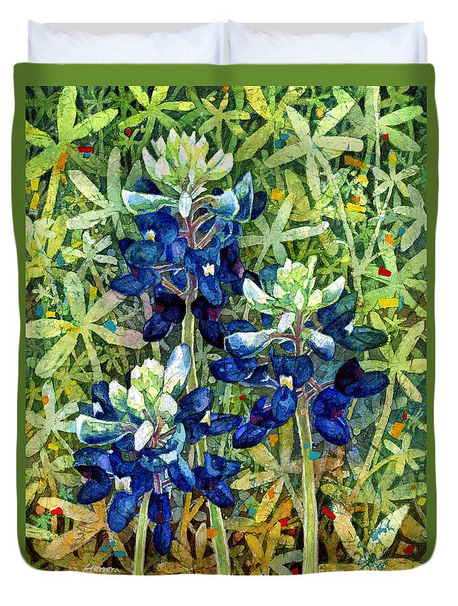 Bluebonnet Duvet Cover featuring the painting Garden Jewels I by Hailey E Herrera