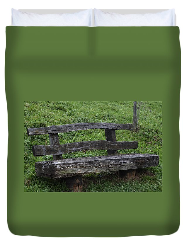 Park Duvet Cover featuring the photograph Garden Park Bench by Miguel Winterpacht
