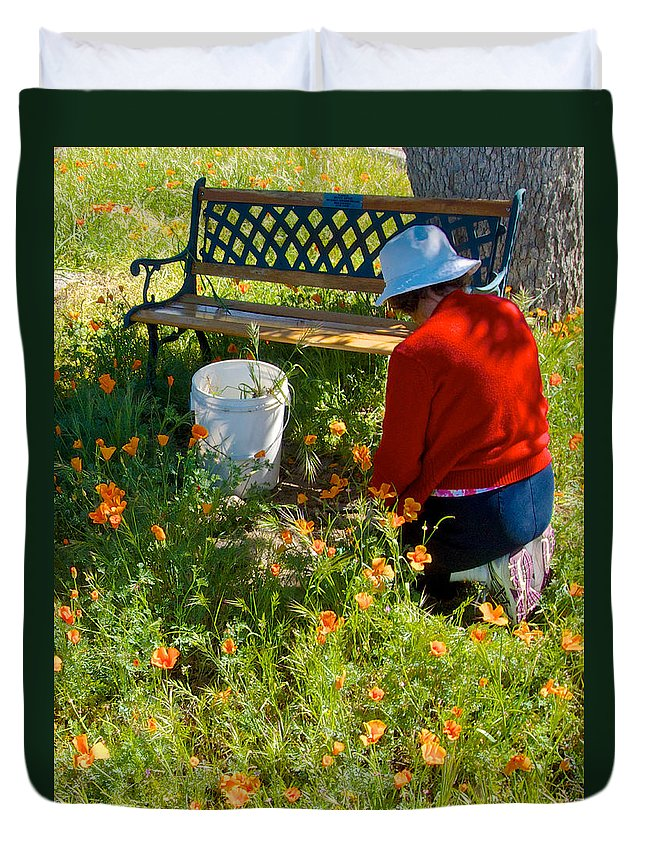 Garden Party Duvet Cover featuring the photograph Garden Party In Park Sierra-ca by Ruth Hager