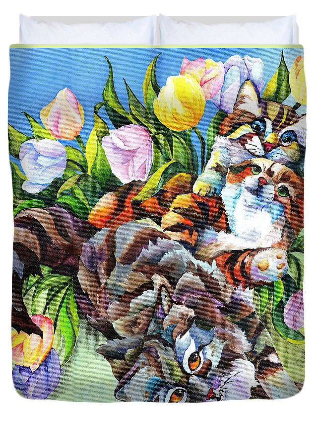 Cat Duvet Cover featuring the painting Garden Party by Sherry Shipley
