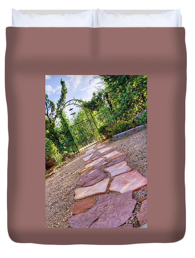 Garden Duvet Cover featuring the photograph Garden Path by Alexey Stiop