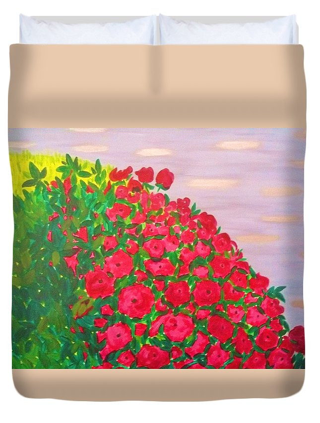 Landscape Duvet Cover featuring the painting Garden by Soheila Madani