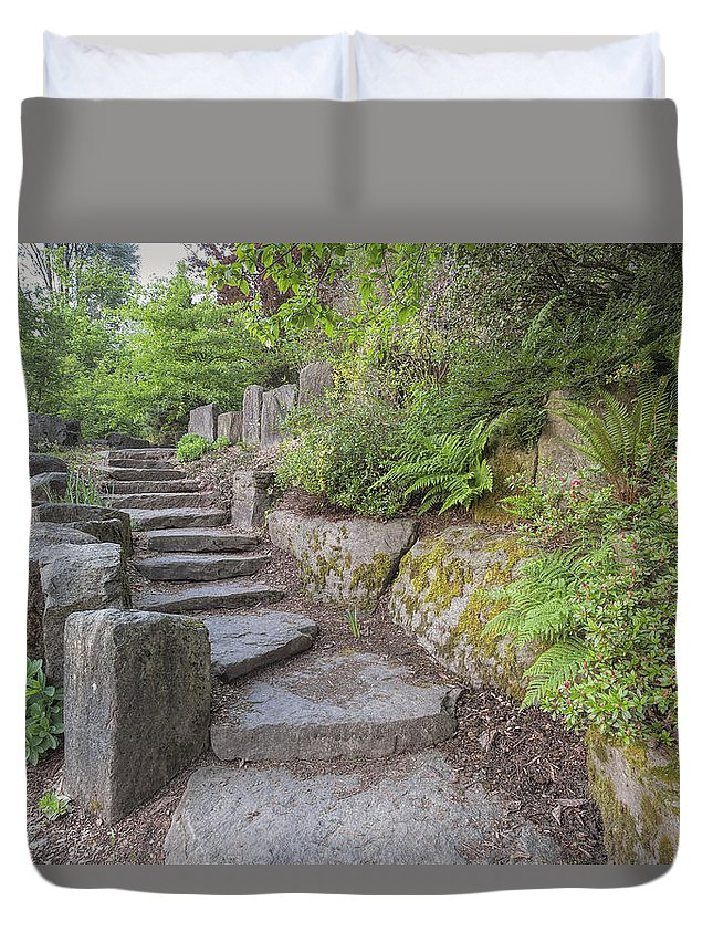 Garden Duvet Cover featuring the photograph Garden Stair Steps With Natural Rocks by Jit Lim