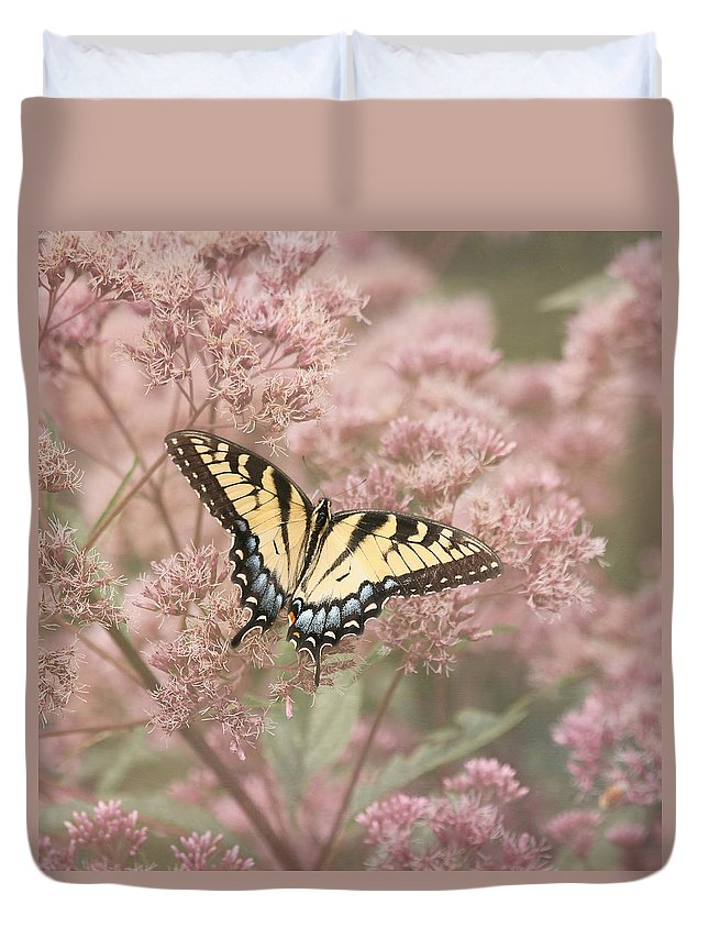 Tiger Swallowtail Butterfly Duvet Cover featuring the photograph Garden Visitor - Tiger Swallowtail by Kim Hojnacki