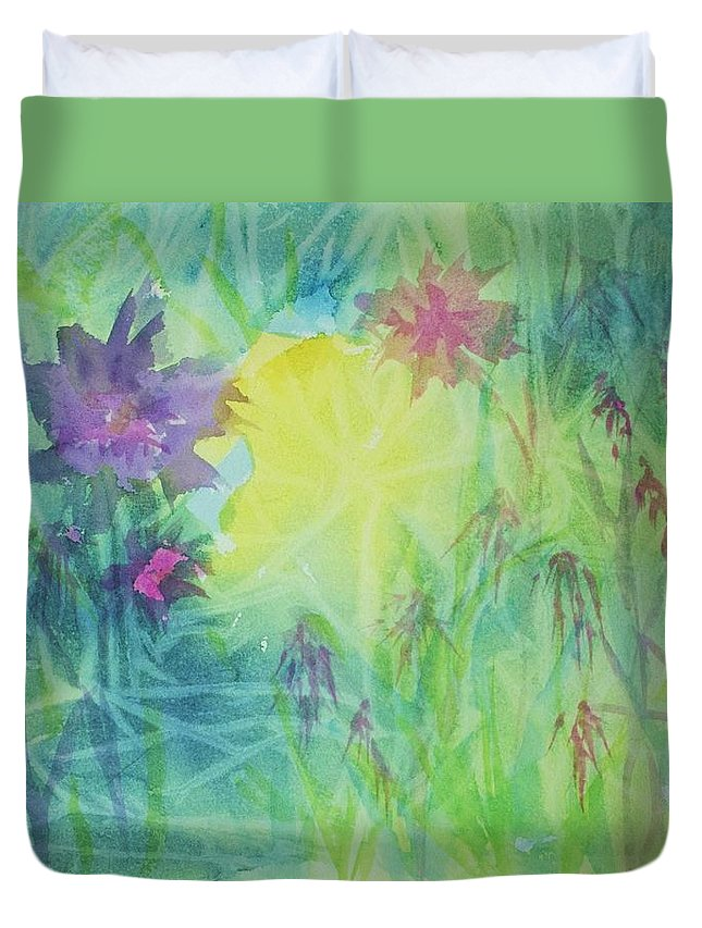 Garden Duvet Cover featuring the painting Garden Vortex by Ellen Levinson