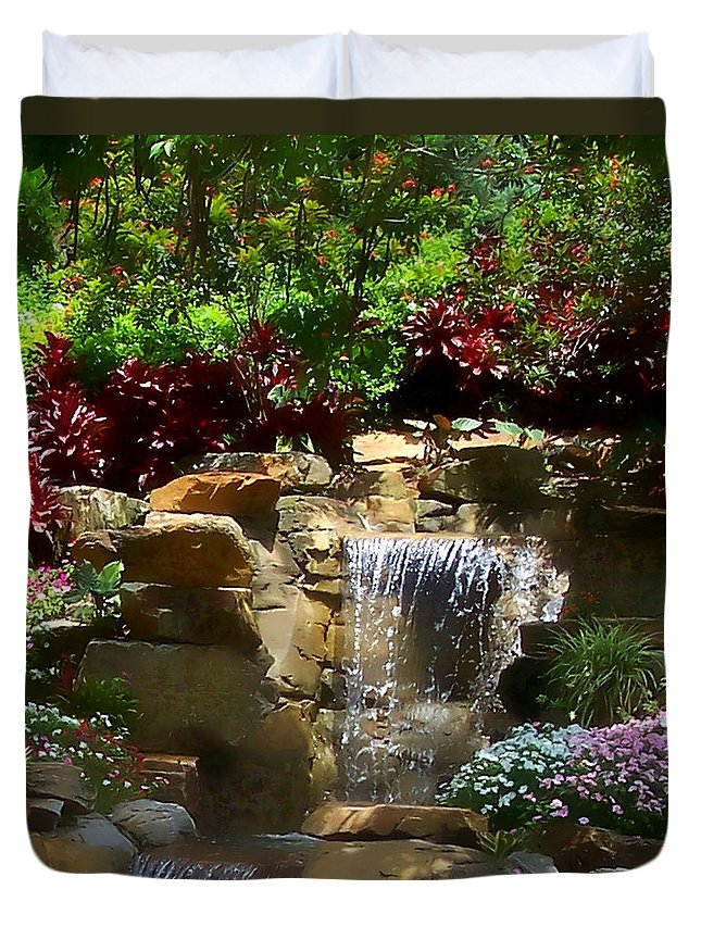 Garden Duvet Cover featuring the photograph Garden Waterfalls by Pharris Art