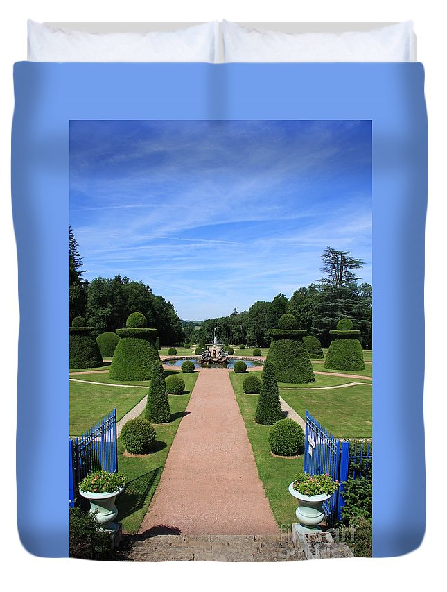 Path Duvet Cover featuring the photograph Gardenpath With Blue Gates - Burgundy by Christiane Schulze Art And Photography