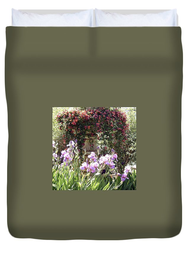Flowers In A Pot Duvet Cover featuring the photograph Gardens At Caesars by Gerry High