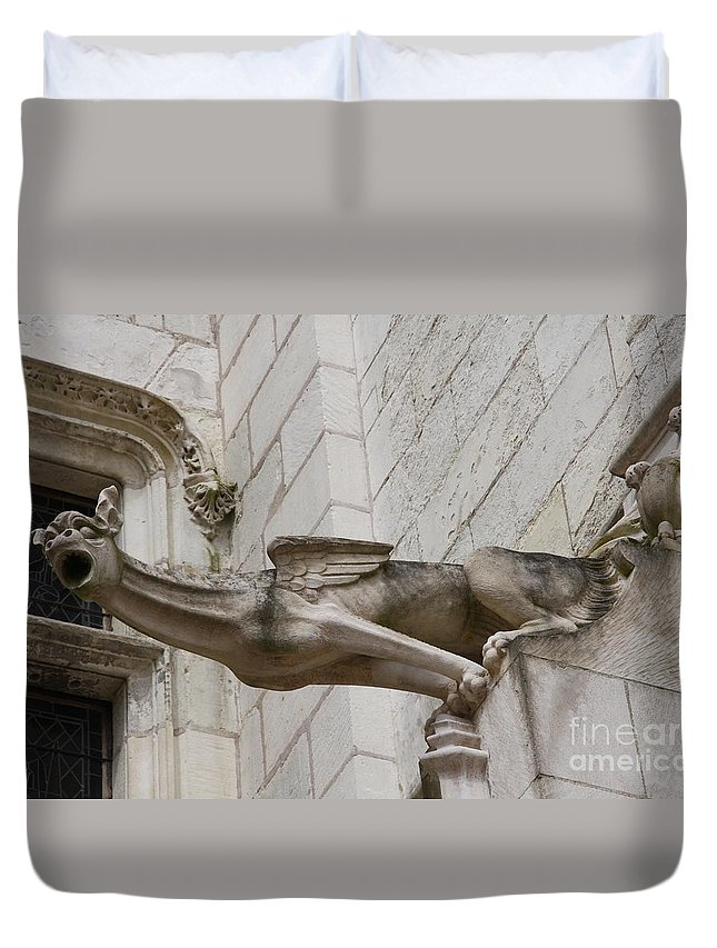 Gargole Duvet Cover featuring the photograph Gargoyle Cathedral Tours by Christiane Schulze Art And Photography