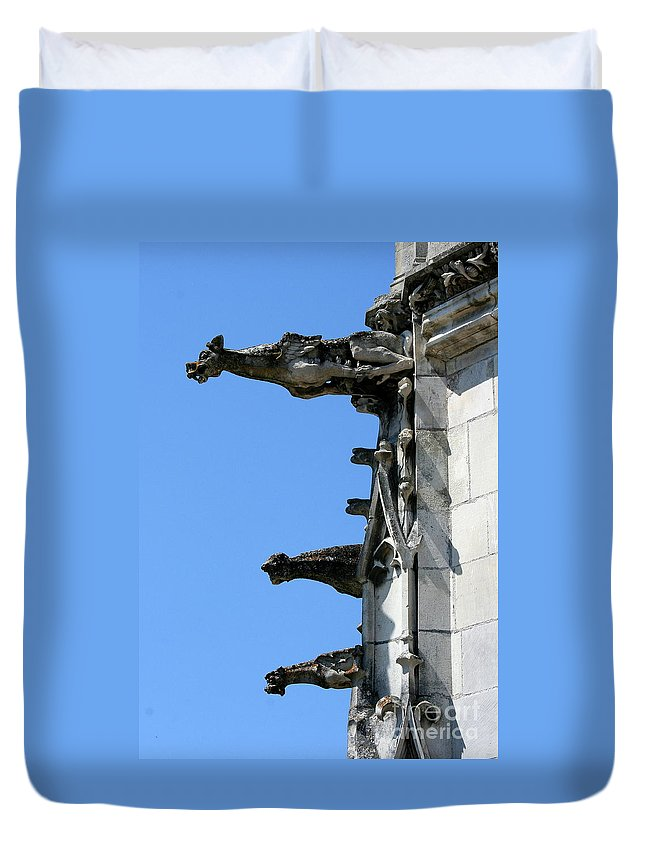 Gargoyles Duvet Cover featuring the photograph Gargoyles In A Row by Christiane Schulze Art And Photography