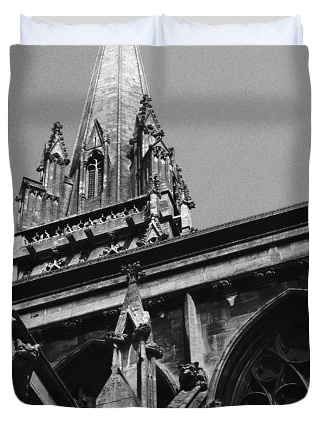 King's College Duvet Cover featuring the photograph Gargoyles King's College Chapel Tower by David Hohmann