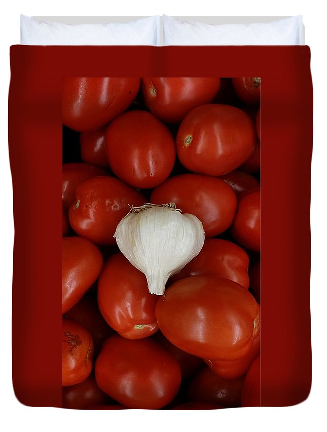 Still Life Duvet Cover featuring the photograph Garlic And Tomatoes by Mark Victors