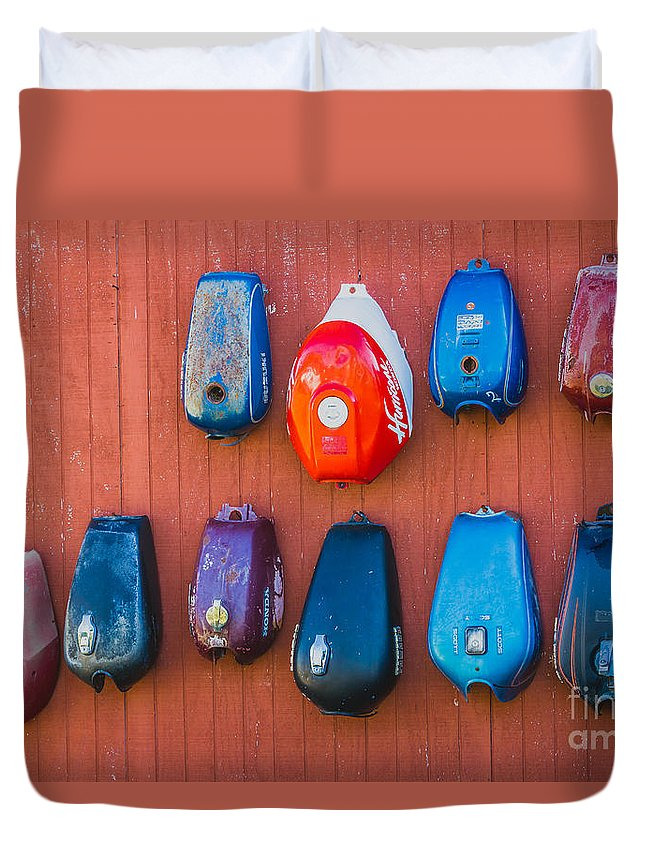 Gas Tank Duvet Cover featuring the photograph Gas Tanks by Ashley M Conger
