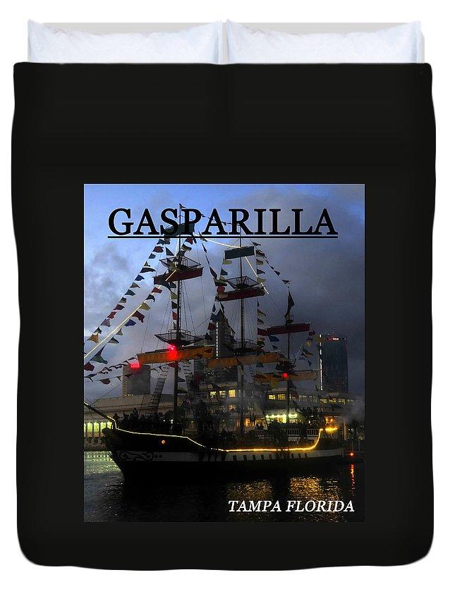 Gasparilla Duvet Cover featuring the photograph Gasparilla Ship Print Work B by David Lee Thompson