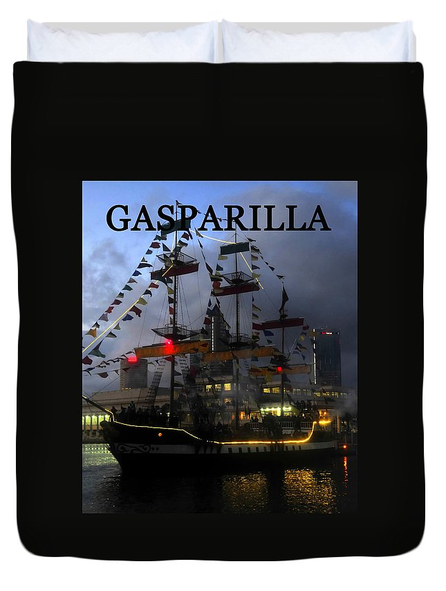 Gasparilla Pirate Festival Tampa Bay Florida Duvet Cover featuring the photograph Gasparilla Ship Work A Print by David Lee Thompson