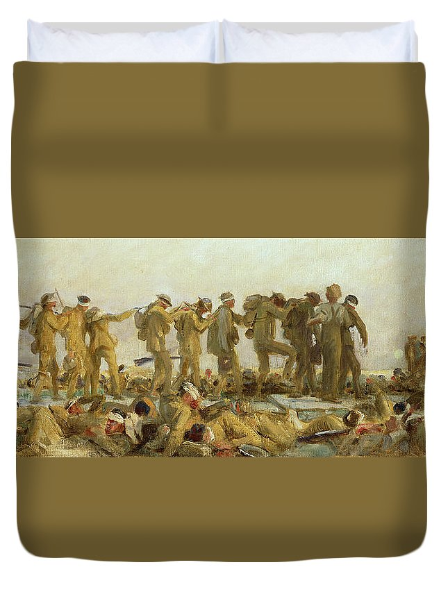 Gassed Duvet Cover featuring the painting Gassed  An Oil Study by John Singer Sargent