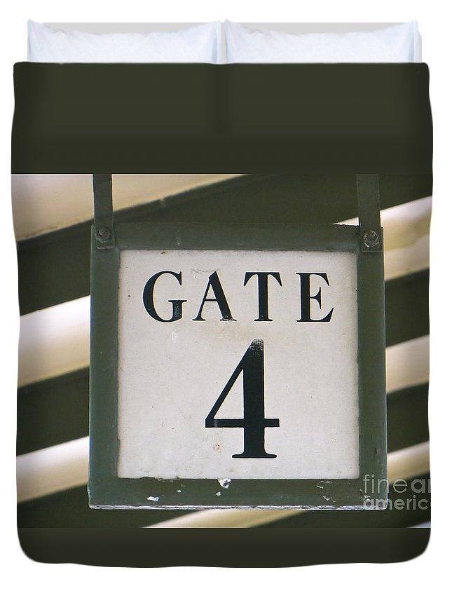 Gate #4 Duvet Cover featuring the photograph Gate #4 by Joy Hardee
