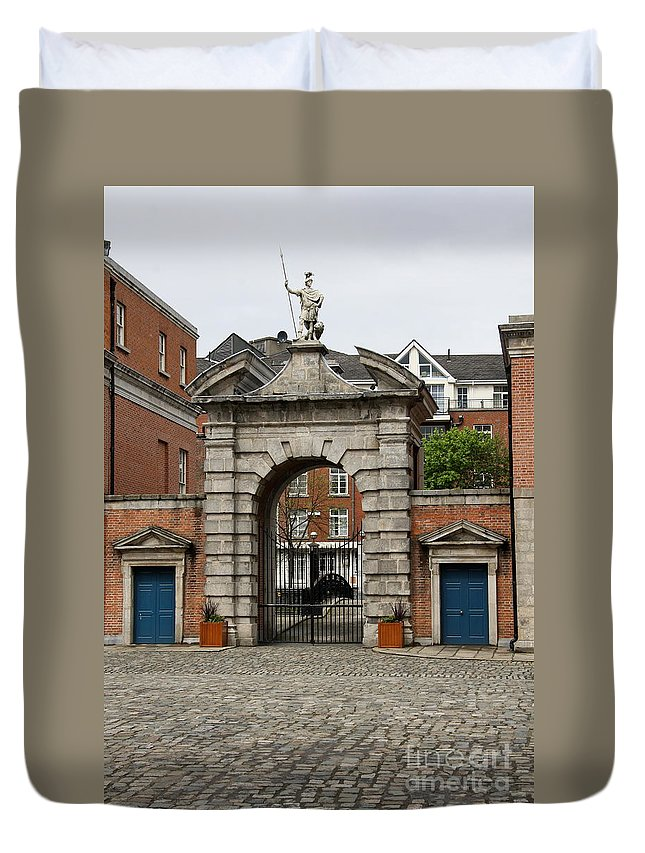 Gate Of Fortitude Duvet Cover featuring the photograph Gate Of Fortitude - Dublin Castle by Christiane Schulze Art And Photography