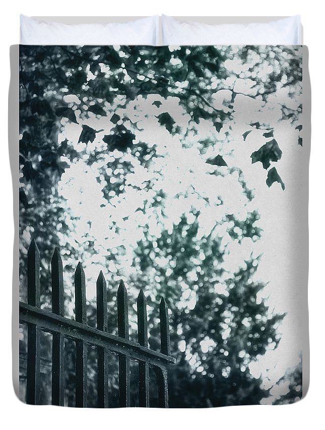 Texture Duvet Cover featuring the photograph Gated by Margie Hurwich