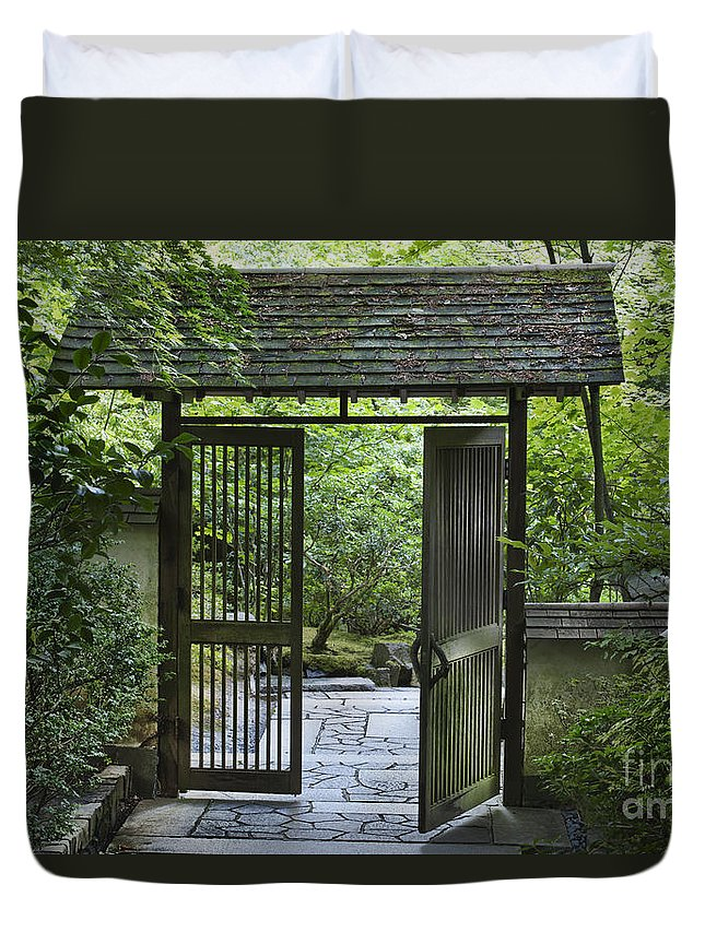 Gates Duvet Cover featuring the photograph Gates Of Tranquility by Sandra Bronstein