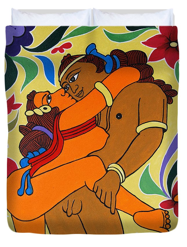 Romantic Love Duvet Cover featuring the painting Gateway Of Haven by Ragunath Venkatraman