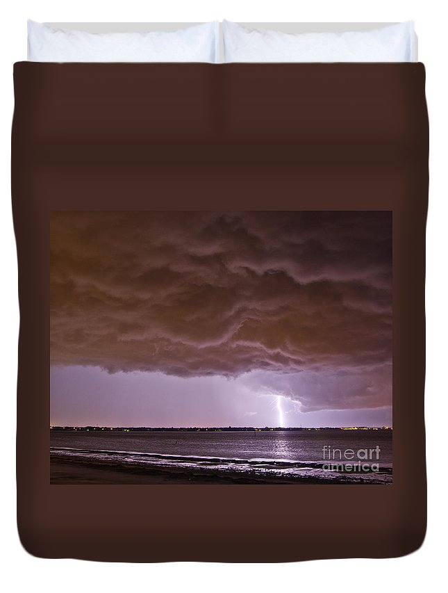Lightning Duvet Cover featuring the photograph Gathering Clouds by Stephen Whalen