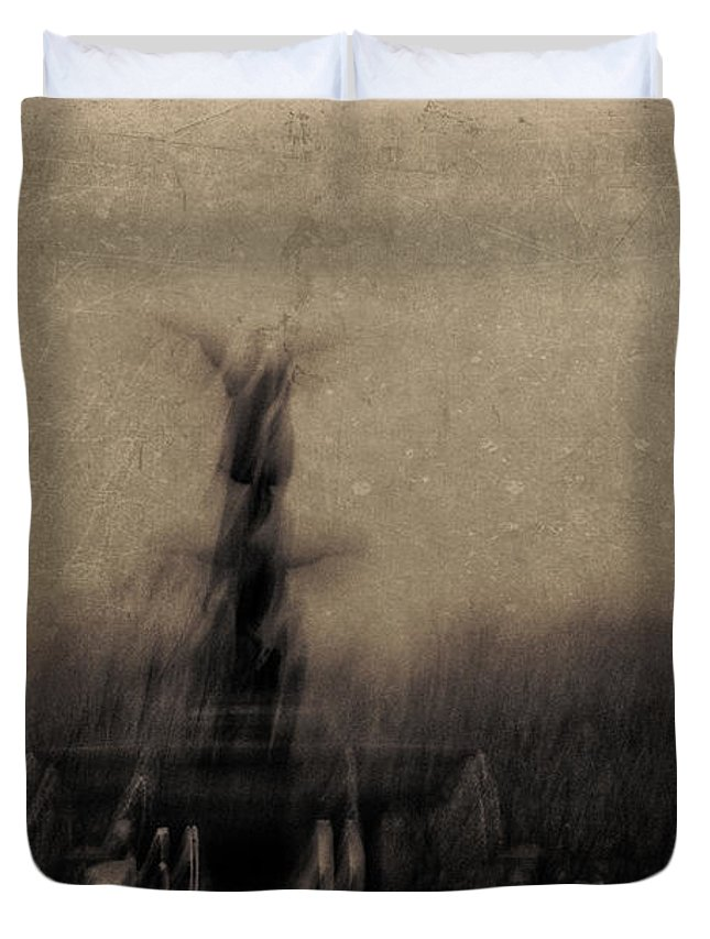 New York Duvet Cover featuring the photograph Angel Of The Waters by Eric Ferrar