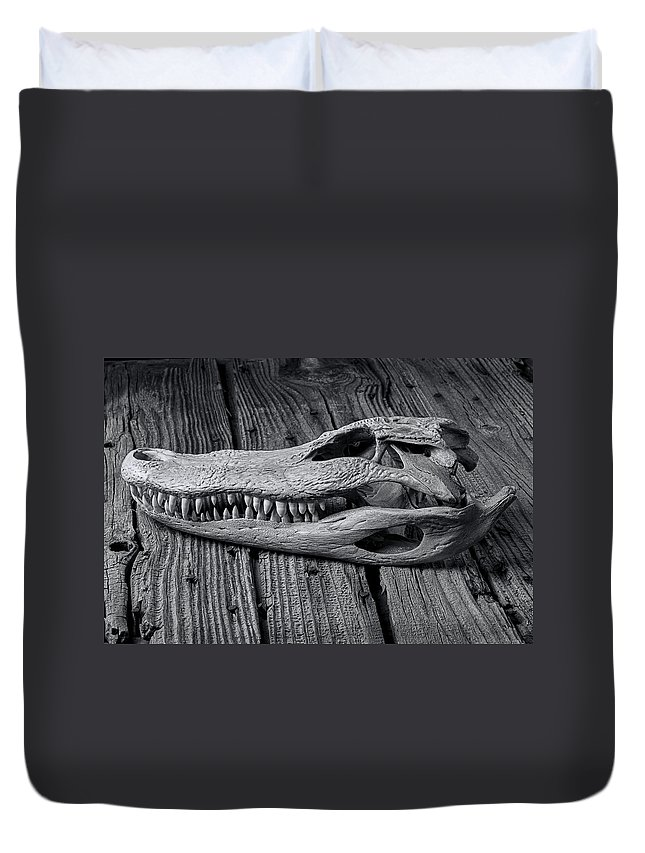 Gator Duvet Cover featuring the photograph Gator Black And White by Garry Gay