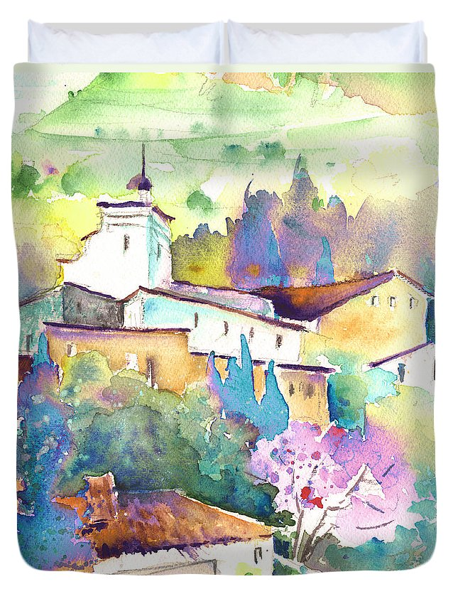 Travel Duvet Cover featuring the painting Gatova Spain 02 by Miki De Goodaboom