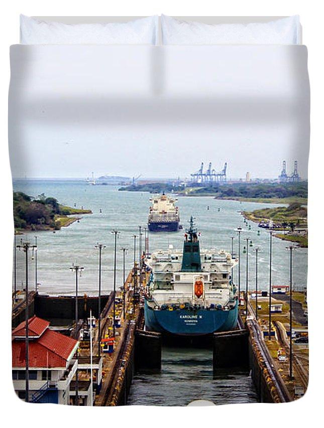 Gatun Duvet Cover featuring the photograph Gatun Locks Panama Canal by Kurt Van Wagner
