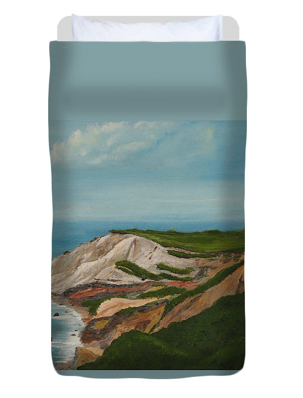Gay Head Duvet Cover featuring the painting Gay Head Cliffs by Nick Robinson