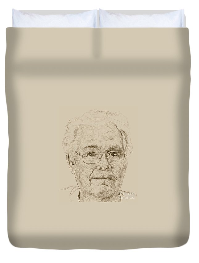 Memory Care Duvet Cover featuring the drawing Gayland by PainterArtist FIN