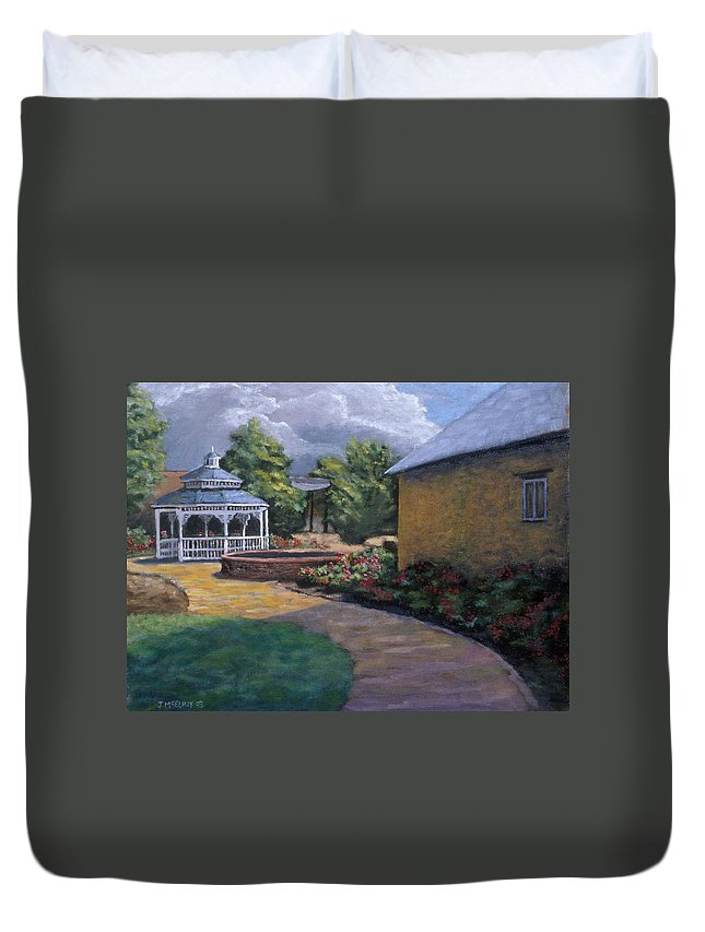 Potter Duvet Cover featuring the painting Gazebo In Potter Nebraska by Jerry McElroy