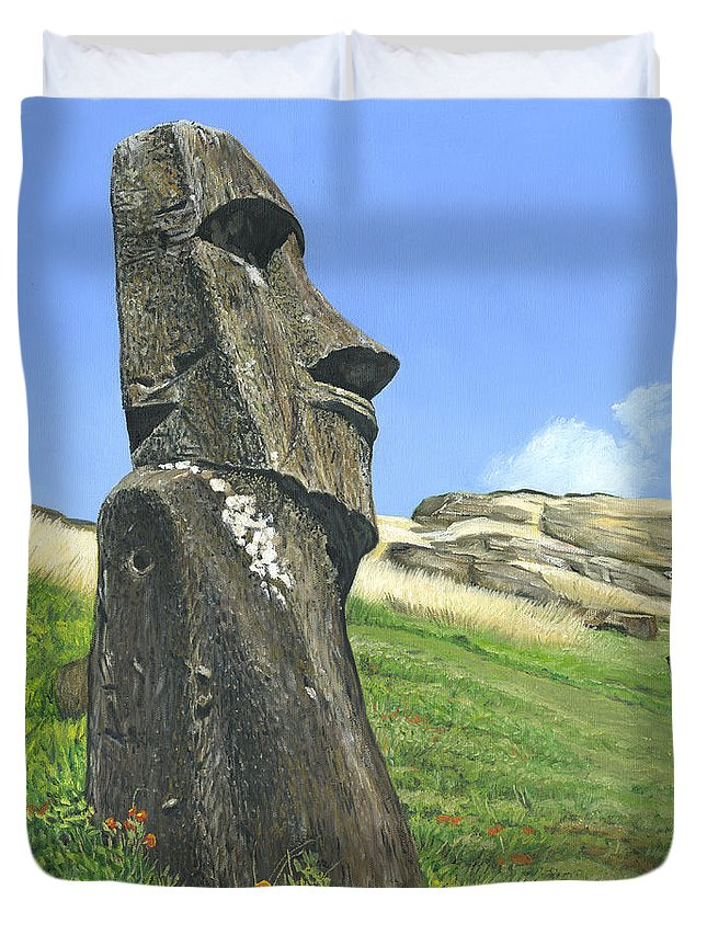 Easter Island Duvet Cover featuring the painting Gazing by Brent Charbonneau
