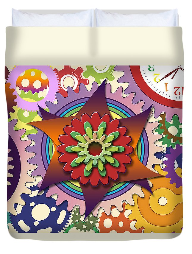 Gear Duvet Cover featuring the painting Gears by Gerry Robins