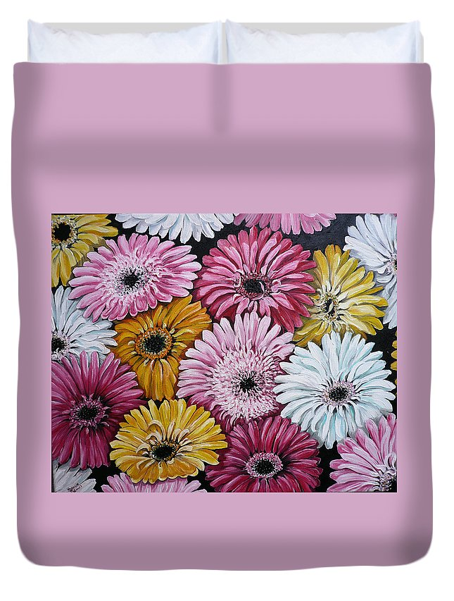 Flower Paintings Daisy Paintings Floral Paintings Blooms Color .gerbera Daisy Paintings Greeting Card Painting S Canvas Painting Poster Print Paintings Duvet Cover featuring the painting Gebera Daisies by Karin Dawn Kelshall- Best