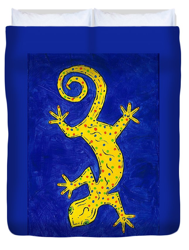Gecko Duvet Cover featuring the painting Gecko Wiggle by Susie WEBER