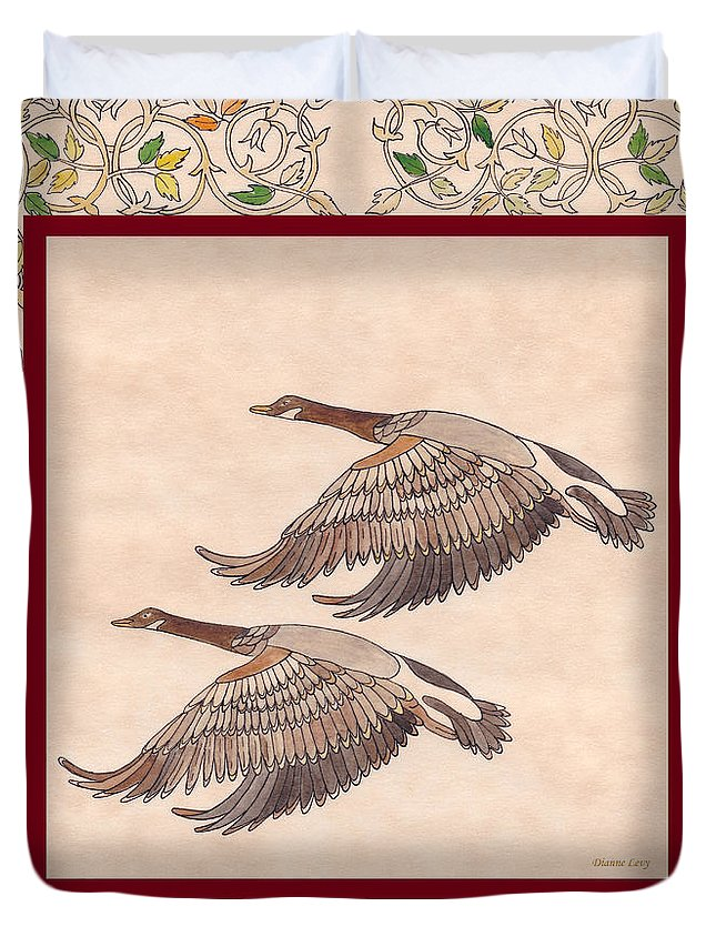 Geese Duvet Cover featuring the drawing Geese by Dianne Levy