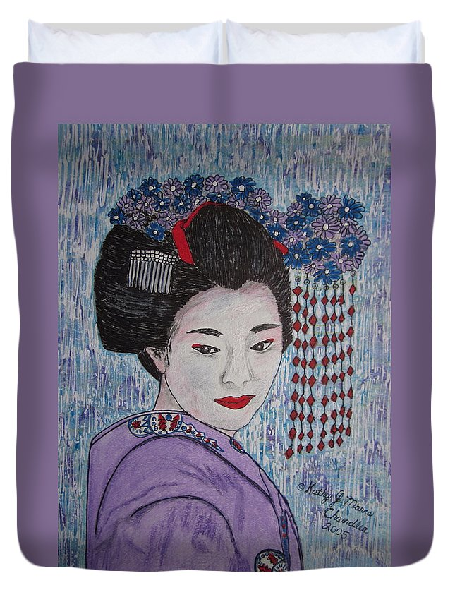 Oriental Duvet Cover featuring the painting Geisha Girl by Kathy Marrs Chandler