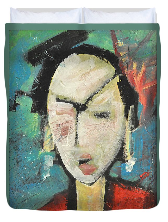 Geisha Duvet Cover featuring the painting Geisha by Tim Nyberg