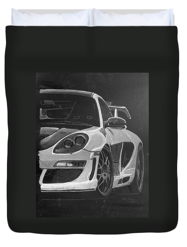 Car Duvet Cover featuring the painting Gemballa Porsche Left by Richard Le Page