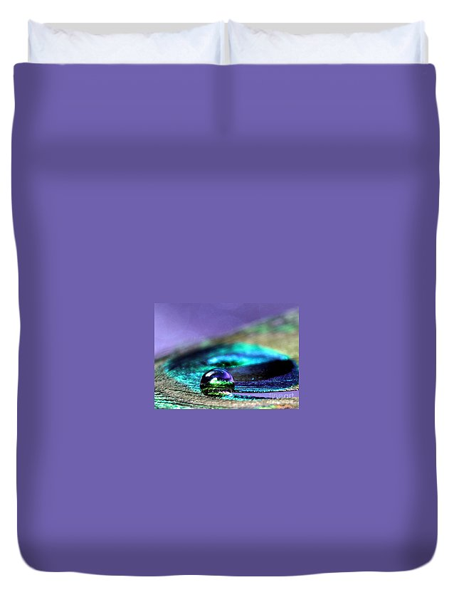 Peacock Feather Duvet Cover featuring the photograph Gemini by Krissy Katsimbras