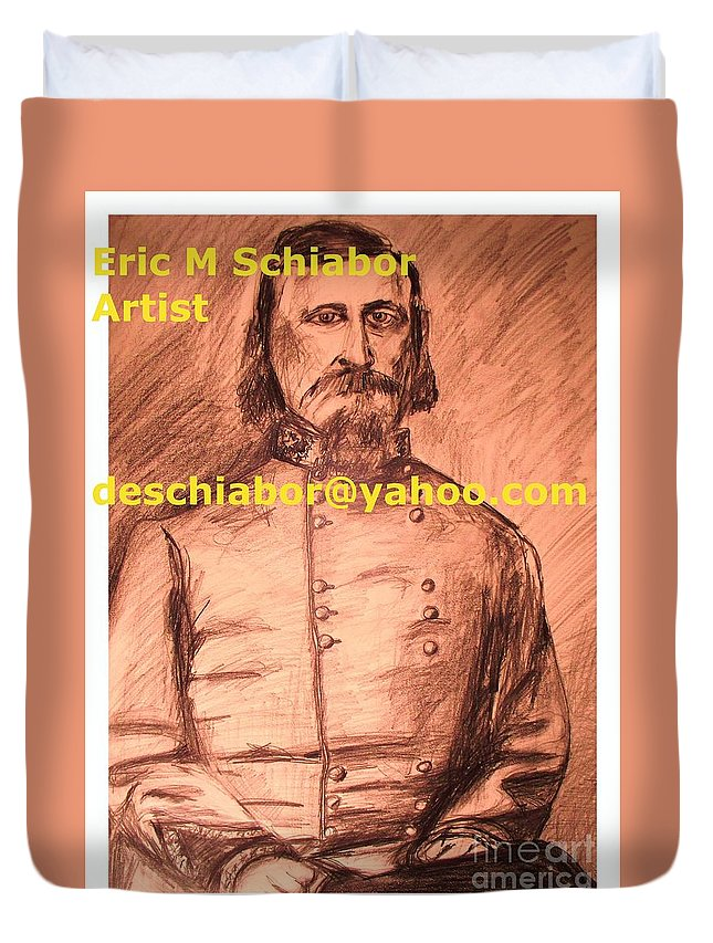 General Pickett Duvet Cover featuring the painting General Pickett Confederate by Eric Schiabor