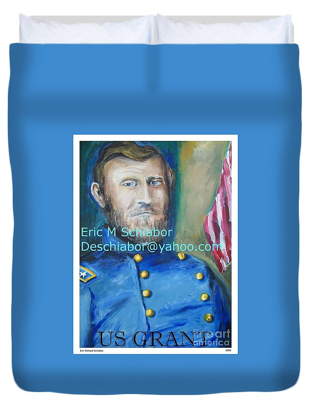 Grant Artwork Duvet Cover featuring the painting General Us Grant by Eric Schiabor