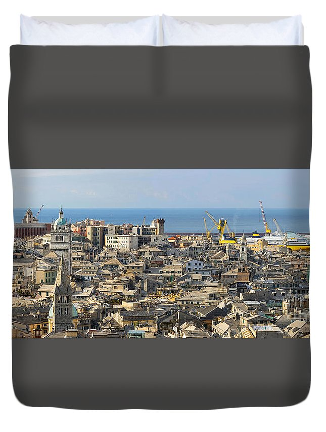 Apartment Duvet Cover featuring the photograph Genova. Panoramic View by Antonio Scarpi