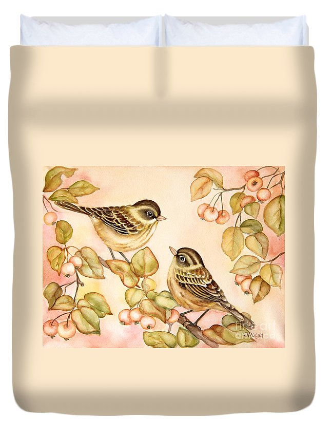 Bird Art Duvet Cover featuring the painting Gentle Couple by Inese Poga
