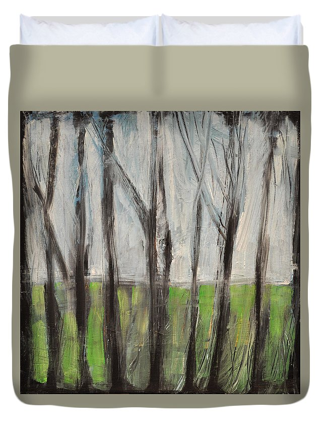 Trees Duvet Cover featuring the painting Gentle Rain by Tim Nyberg