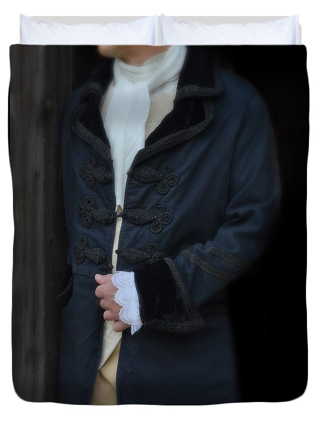 Young Duvet Cover featuring the photograph Gentleman In 18th Century Clothing by Jill Battaglia